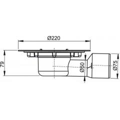 ALCAPLAST - Podl.vpust 50/75 boční (jen tělo vpusti) APV3000 (APV3000)