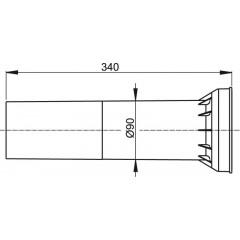 Propojka k invalidnímu WC 90x340mm s manžetou ALCAPLAST M148 M148