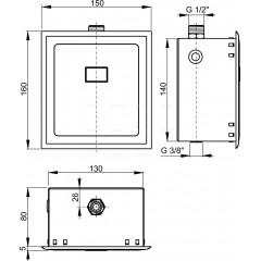 ALCA Automatický splachovač pisoárů, 12 V (napájení ze sítě) ALCAPLAST ASP4 ASP4