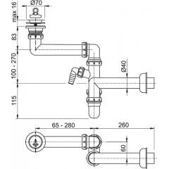 Sifon dřezový A870P-DN40 nábytkový prostorově úsporný s přípojkou ALCAPLAST A870PDN40 A870P-DN40