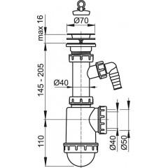 Sifon dřezový s nerezovou mřížkou pr.70 a přípojkou ALCAPLAST A441P-DN50/40 A441P-DN50/40