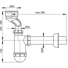 Sifon pisoárový 40 malý s manžetou ALCAPLAST A45A (A45A)