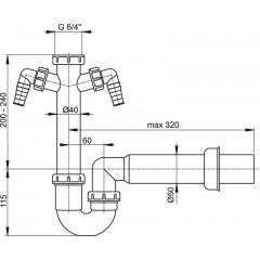 Sifon spodek trubkový A82-DN50 s převlečnou maticí 6/4 a 2x přípojka ALCAPLAST A82-DN50 A82-DN50
