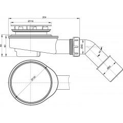 Alcaplast sifon pro sprchové vaničky 90mm chrom SNÍŽENÝ v.65mm+koleno DN40/50 A491CR (A491CR)