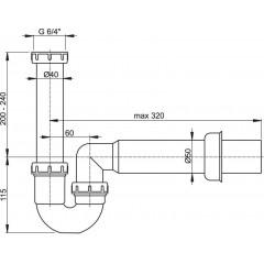 """Alcaplast Sifon trubkový s převlečnou maticí 6/4"""" A80-DN50 (A80-DN50)"""
