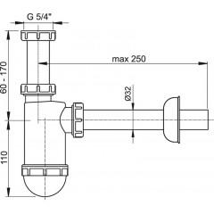 ALCAPLAST - Sifon umyvadlový 5/4 x 32 spodek Alca plast A430 (A430)