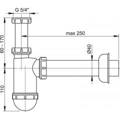 "ALCAPLAST - Sifon umyvadlový 5/4"" x 40 spodek lahvový Alca plast A43 (A43)"