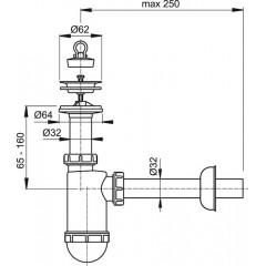 Sifon umyv. DN32 nerez mřížka pr.63 ALCAPLAST plast A410 A410