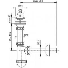 Sifon umyv. DN32 prodloužený, nerez mřížka pr.63 ALCAPLAST plast A411 A411