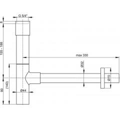 Sifon umyvadlový DN32 DESIGN celokovový, masivní ALCAPLAST A402 A402