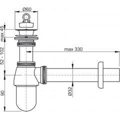 Sifon umyvadlový DN32 s výpustí 5/4 celokovový, ALCAPLAST A437 A437
