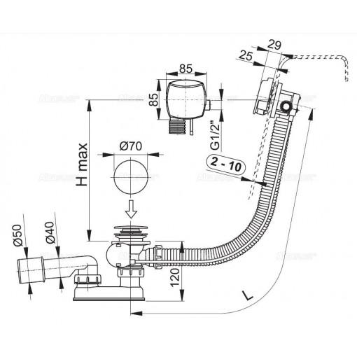 ALCAPLAST - Sifon vanový napouštěcí 120cm chrom/kov A564KM1 120 A564KM1-120 A564KM1-120