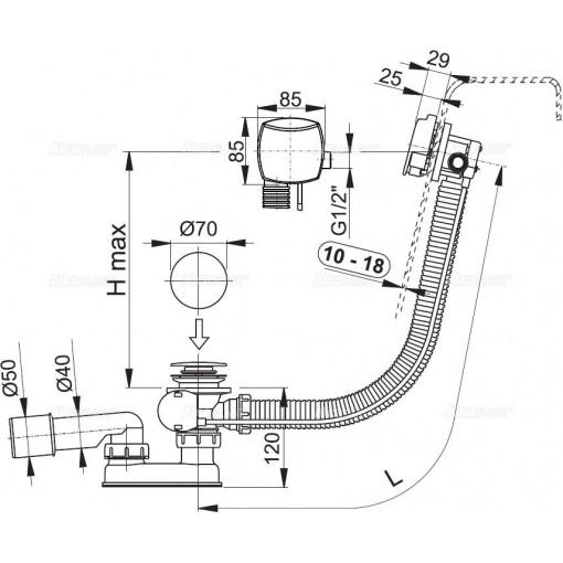 ALCAPLAST - Sifon vanový napouštěcí 120cm chrom/kov pro silnostěnné vany A565KM1 120 A565KM1-120 (A565KM1-120)