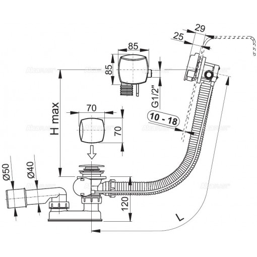 ALCAPLAST - Sifon vanový napouštěcí 60cm chrom/kov pro silnostěnné vany A565KM3 A565KM3 A565KM3