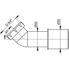 ALCAPLAST - Sifónová redukcia-koleno 45 ° 40/50 - 6/4 matka A52 A52