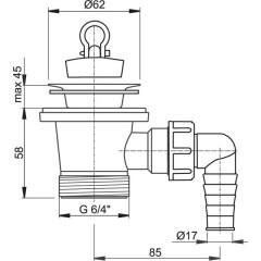 """Sifonová vpusť 6/4""""x63mm s přípojkou, nerez vršek ALCAPLAST plast A31P A31P"""