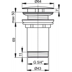 ALCAPLAST - Sifonová vpusť 5/4 pro um.bez přepadu chrom kov velká, neuzavíratelná Alca A396 A396