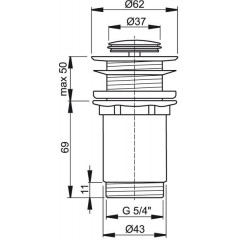 ALCAPLAST - Sifonová vpusť 5/4 click/clack pro um.bez přepadu chrom kov malá Alca A394 (A394)