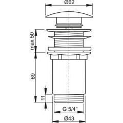 ALCAPLAST - Sifonová vpusť 5/4 click/clack pro um.bez přepadu chrom kov velká Alca A395 (A395)