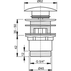 ALCAPLAST - Sifonová vpusť 5/4 click/clack SNÍŽENÁ chrom kov velká zátka Alca A390 (A390)