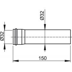 Sifonový prodlužovací kus 150mm pr.32, kov ALCAPLAST A4000 A4000