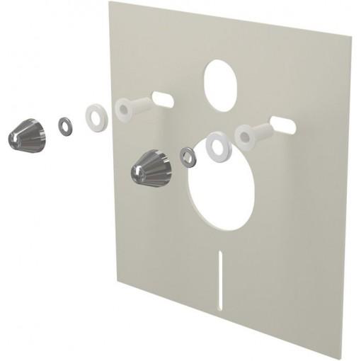 ALCAPLAST - Tlumící izolační deska záv.WC,bidet, CHROM krytky a průchodky, ALCAPLAST, čtverec 40x42 M930CR M930CR