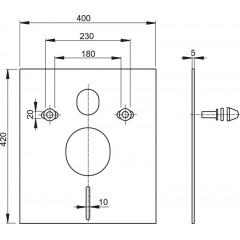 Tlumící izolační deska záv.WC,bidet, CHROM krytky a průchodky, ALCAPLAST, čtverec 40x42 M930CR (M930CR)