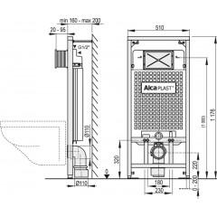 Alcaplast Sádromodul Ecology pro suchou instalaci do sádrokartonu stavební výška 1,2 m A101/1200E A101/1200E