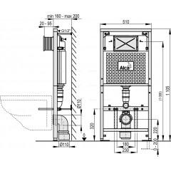 Alcaplast Sádromodul předstěnový systém pro suchou instalaci rozložitelný 1,2 m A101/1200D