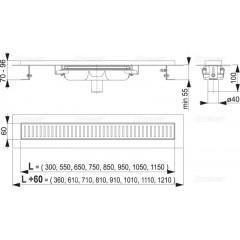 Alcaplast APZ1101-650-LOW podlahový žlab v.55mm SNÍŽENÝ svislý odtok kout min. 700mm APZ1101-650