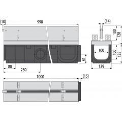 Alcaplast Venkovní žlab 1m 100 mm štěrbinový se symetrickým nástavcem nerez AVZ101-R323