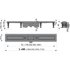 Alcaplast APZ12-850 plastový podlahový žlab s okrajem pro perforovaný rošt nebo vložení dlažby APZ12-850
