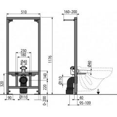 Alcaplast Montážní rám pro závěsné WC stavební výša 1,2m A114/1200 A114/1200