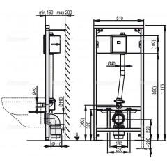Alcaplast Montážní rám pro závěsné WC a senzor A114S/1200