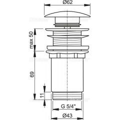 """Alcaplast Výpust umyvadlová click/clack 5/4"""" celokovová bez přepadu, velká zátka bílá A395B (A395B)"""