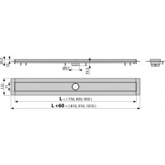 ALCAPLAST - ALCA-APZ13-950 Modular žlab podlahový ,do prostoru, délka 950mm, nerez (kout min.1000mm) (APZ13-950)