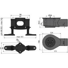 ALCAPLAST - ALCA-APZ-S9 Nízký sifon DN50 pro žlab APZ13 Modular a sada nastavitelných nohou (APZ-S9)
