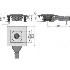 Alcaplast Podlahová vpust nerezová 130 × 130/40 boční, bez mřížky, vodní zápachová uzávěra APV110