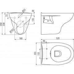 Alcaplast závěsná WC mísa RIMFLOW WC RIMFLOW