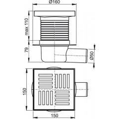Alcaplast Podlahová vpust 150 × 150/50 boční, mřížka šedá, vodní zápachová uzávěra APV5211