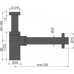 "ALCAPLAST Sifon umyvadlový 5/4""x32 A400BLACK DESIGN spodek,celokovový černý A400BLACK"