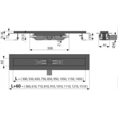 ALCAPLAST - ALCA-APZ101BLACK-850 podlahový žlab výška 55mm (kout min.900mm) - APZ101BLACK-850 (APZ101BLACK-850)