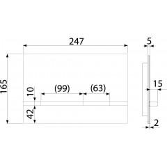 Alcaplast STRIPE alunox-mat/lesk, ovládací deska tlačítko, pro předstěnové instalační systémy STRIPE