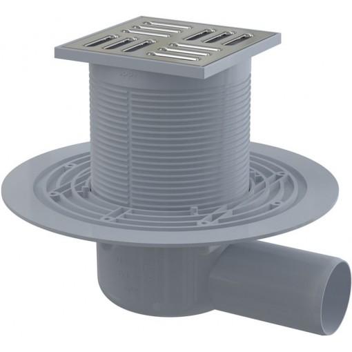 Alcaplast Podlahová vpust 105×105/50 mm boční, mřížka nerez, kombinovaná zápachová uzávěra SMART (APV1321)