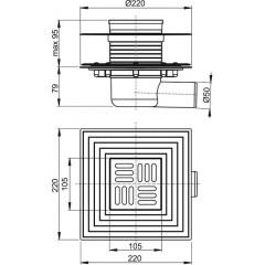 Alcaplast Podlahová vpust 105×105/50 mm boční, mřížka nerez, nerezová příruba a límec 2. úrovně izolace, APV1324