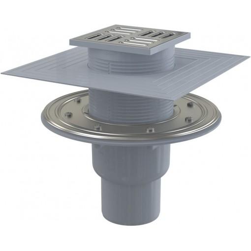 Alcaplast Podlahová vpust 105×105/50/75 mm přímá, mřížka nerez, nerezová příruba a límec 2. úrovně izola APV2324