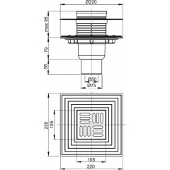 Alcaplast Podlahová vpust 105×105/50/75 mm přímá, mřížka nerez, nerezová příruba a límec 2. úrovně izola APV4344