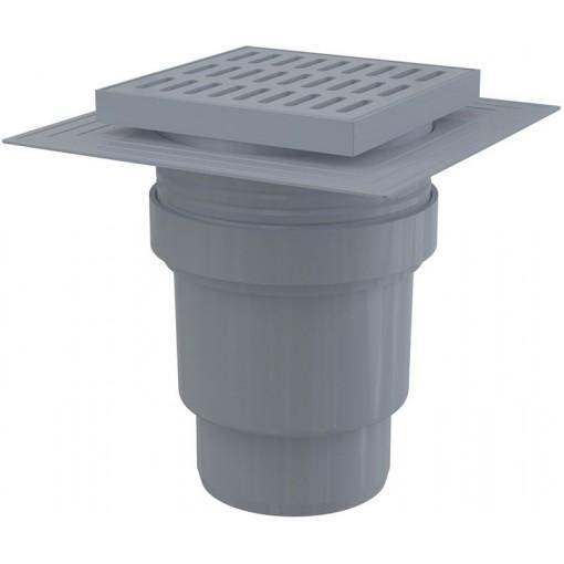 Alcaplast Podlahová vpust 150×150/110 mm přímá, mřížka šedá, límec 2. úrovně izolace, vodní zápachová uz APV11