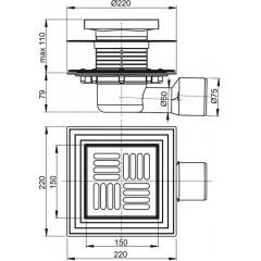 Alcaplast Podlahová vpust 150×150/50/75 mm boční, mřížka nerez, nerezová příruba a límec 2. úrovně izola APV3444