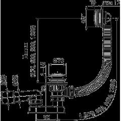 Alcaplast Sifon vanový CLICK/CLACK, kov-chrom čistitelný shora délka 570mm A507CKM (A504CKM)